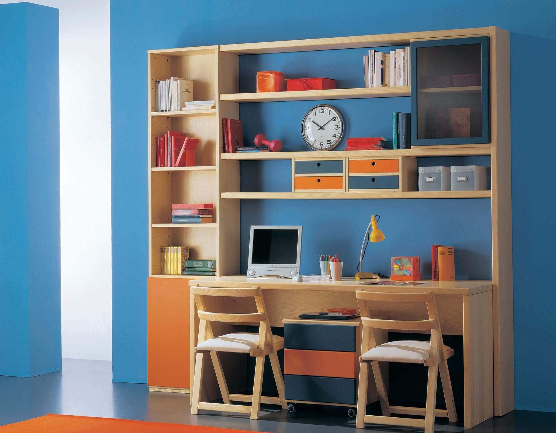 Camera con letto castello e scaletta contenitore marzorati for Libreria cameretta ikea