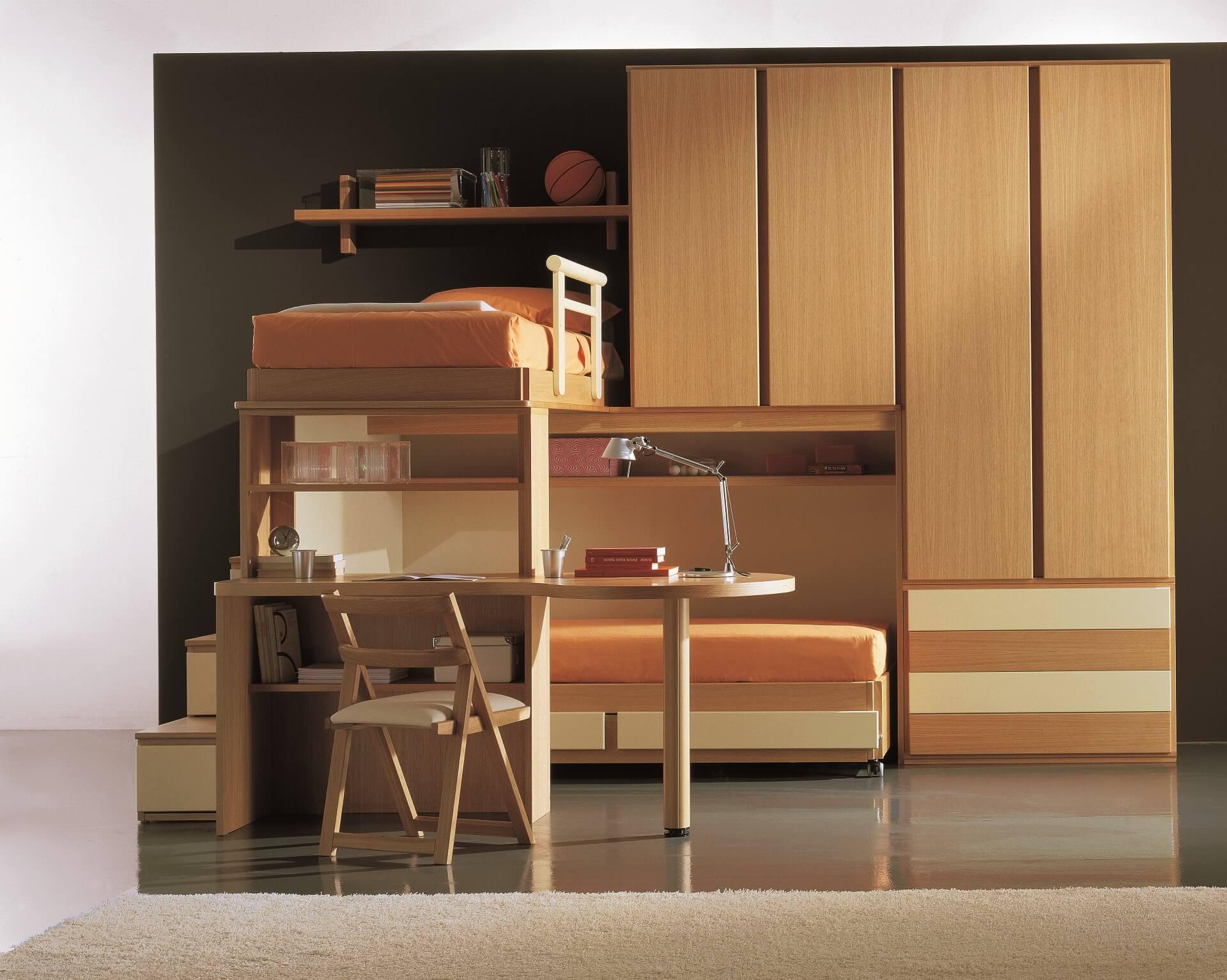 Camera con letto castello e scaletta contenitore marzorati - Letto soppalco legno ...