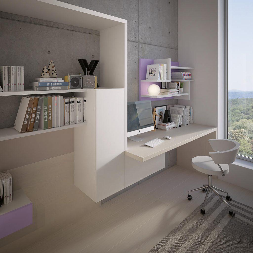 Camera con letto castello e scaletta contenitore marzorati for Libreria per scrivania
