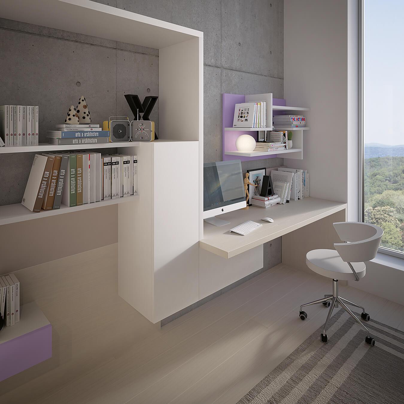 Parete attrezzata con scrivania integrata pw13 marzorati camerette - Parete attrezzata con scrivania ...