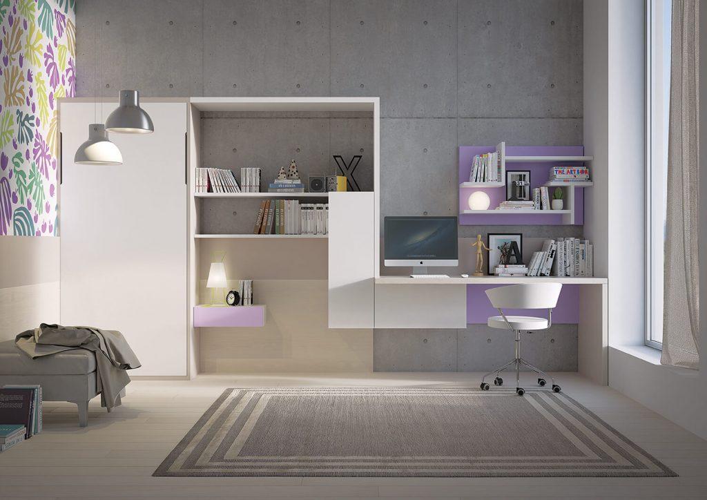 Amato Parete attrezzata con scrivania integrata PW13 - Marzorati Camerette XV08